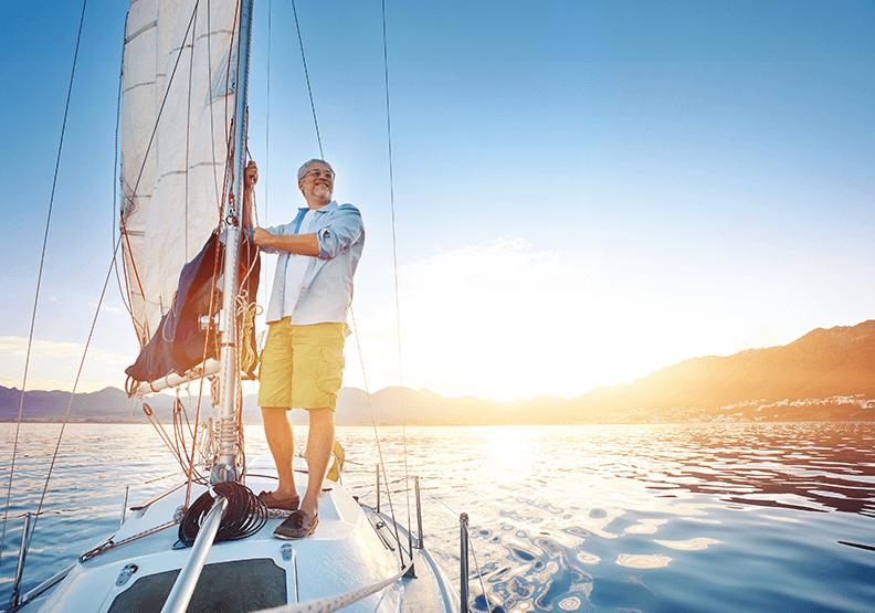 Mann auf einem Boot Wirbelsäule